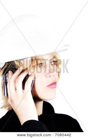 Female  Builder On The Phone
