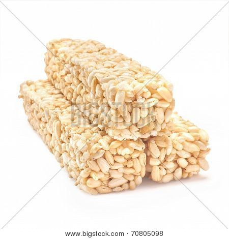 Puffed Rice Crispies Isolated On White