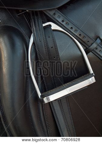 Stirrup At Dressage Saddle. Close Up