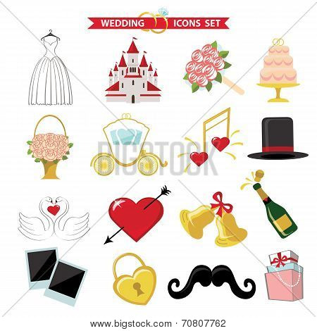 Wedding  icons for Web and Mobile. Retro Vector