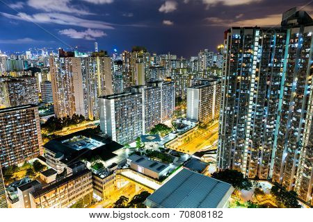 City life in Hong Kong at night