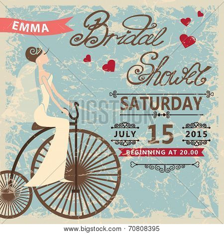 Retro Bridal shower invitation.Bride on retro bicycle