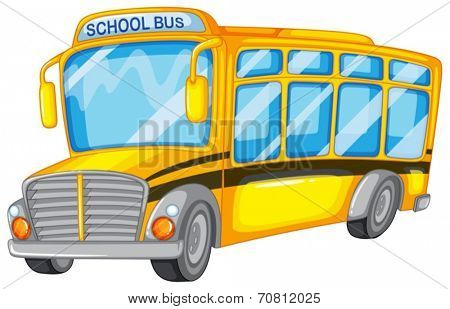 Illustration of a closeup school bus