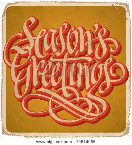 SEASON'S GREETINGS hand-lettered vintage card (vector)