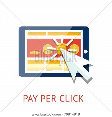 Pay per click illustration with tablet