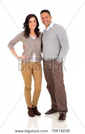 cute mid age couple hugging on white background