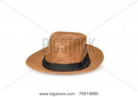 A Classic Men's Brown Hat With Clipping Path