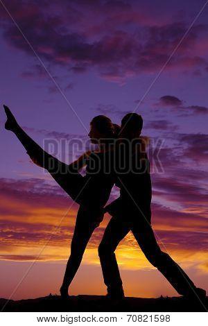 Silhouette Couple Dancing He Lift Leg Up