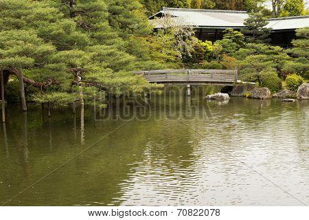 The scenery of Japanese garden with the pone near Heian Shrine.