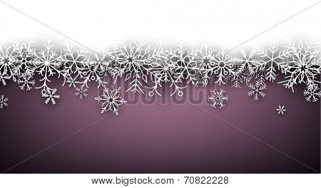 Purple winter abstract background. Christmas background with paper snowflakes. Vector.