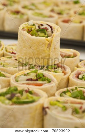 Tray Of Sliced Pitta Rolls