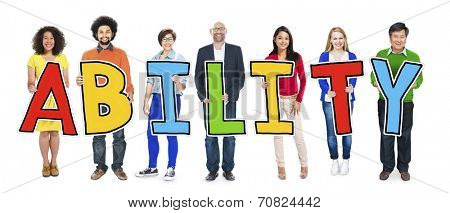 Group of People Standing Holding Ability Letter