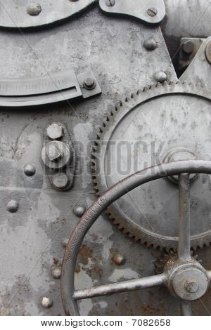 Cogwheel And Crank On Old  Machine