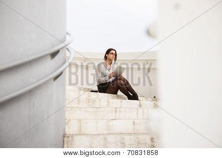 Trendy Businesswoman Using Internet Digital Tablet