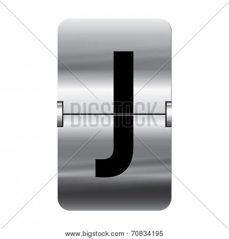 Silver Flipboard Letter - Departure Board - J