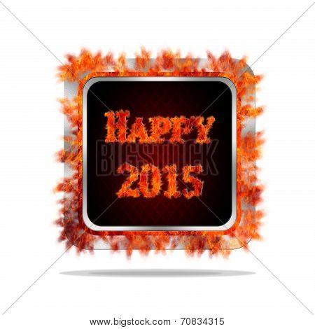 Happy 2015 Burning Button.