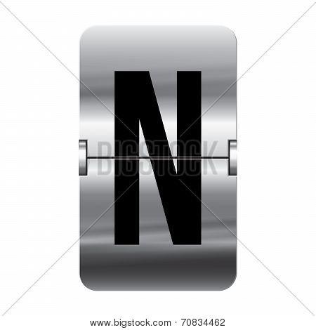 Silver Flipboard Letter - Departure Board - N