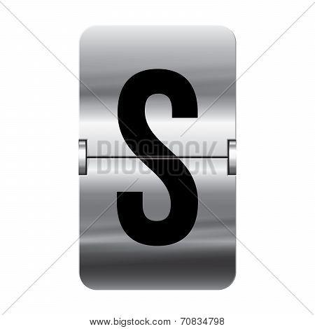 Silver Flipboard Letter - Departure Board - S