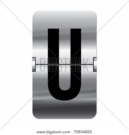 Silver Flipboard Letter - Departure Board - U