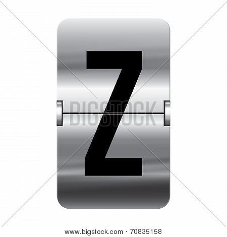 Silver Flipboard Letter - Departure Board - Z