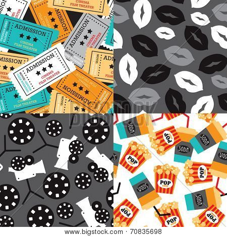 Seamless movie night and film icon illustration background pattern set in vector