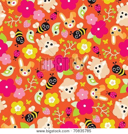 Seamless colorful sheep blossom bumble bee and birds illustration spring background pattern in vector