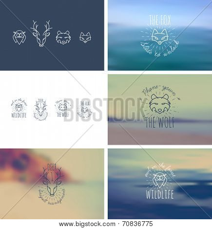 Trendy Retro Vintage Insignias Bundle. Animals. Fox, wolf,  deer, owl.