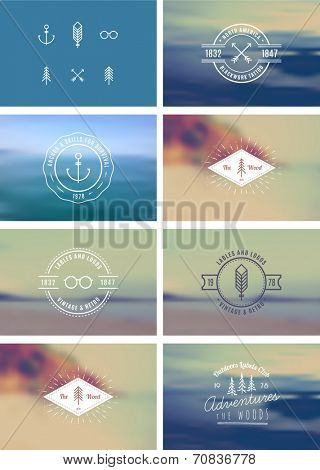 Trendy Retro Vintage Insignias Bundle 100% vector shape.