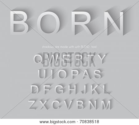 Classic alphabet with modern long shadow effect. Shadows has been made with blend and transparency so can be copied and paste on every background.