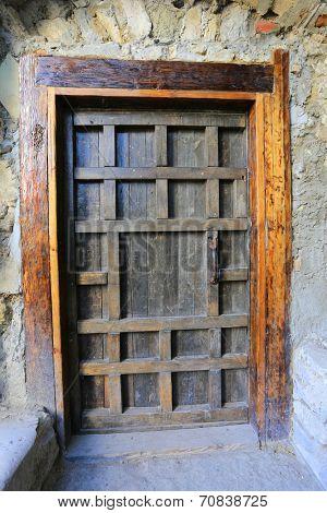 vintage door in old building