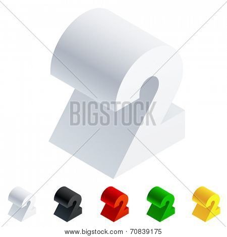 Vector illustration of solid 3D letter in isometric view. Alphabet characters. Number  2