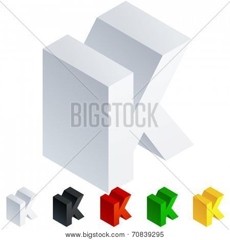 Vector illustration of solid 3D letter in isometric view. Alphabet characters. Letter k