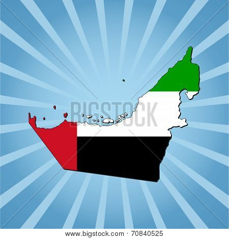 UAE map flag on blue sunburst illustration