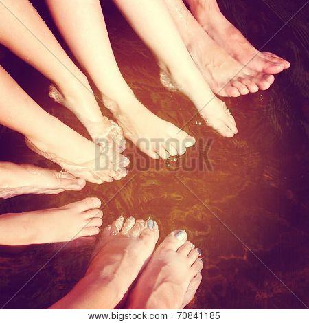 Fun Istagram Of Family Feet In Water Splashing