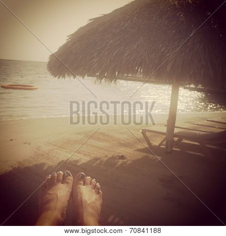 Instagram Image Of Womans Feet Relaxing On Tropical Beach