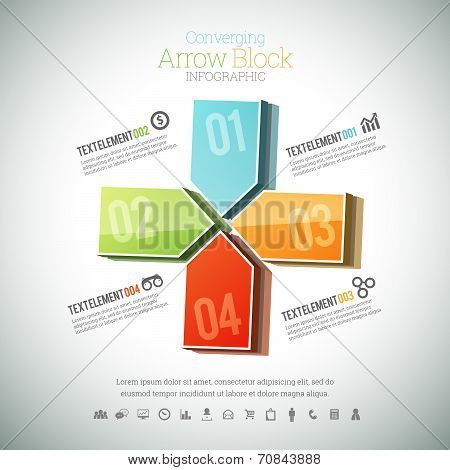 Converging Arrow Block Infographic