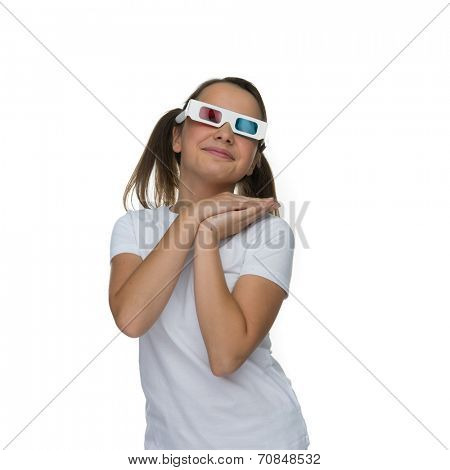 Young girl with her hair in pigtails wearing 3d stereoscopic glasses, ioslated on white