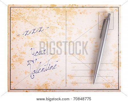 Old Paper Postcard - Xxx Your Valentine