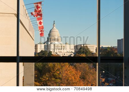U.S. Capitol Building as seen from the windows of Newseum in Autumn - Washington D.C. United States of America