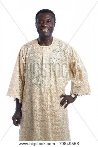Mid Age African American Man with Traditional Costume Closeup Happy Portrait Isolated on White Background
