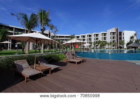 swimming pool of a 5 stars luxury hotel at Vung Tau , Vietnam.