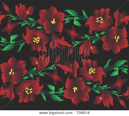 Illustration Of Red Lilly Branches On A Black Background