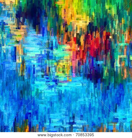 art abstract pixel geometric pattern background in blue, red, gold and green colors
