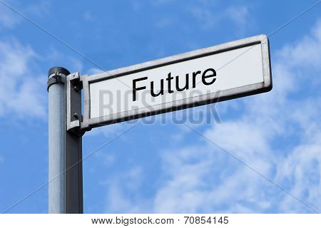 Signpost With Future Sign Against Sky