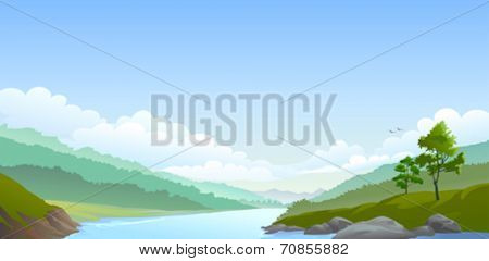 Country side river,hills and vast blue sky
