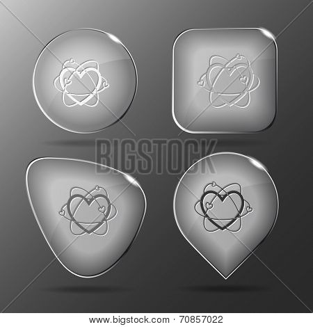 Atomic heart. Glass buttons. Vector illustration.