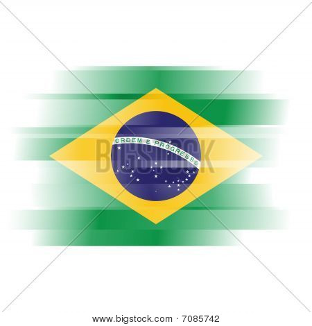 Abstract Brazillian Flag On White Background