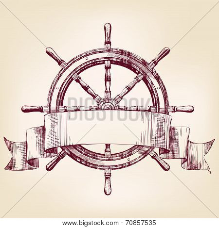 ship steering wheel  drawing vector illustration