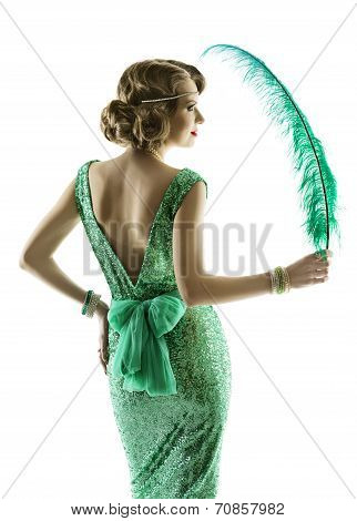 Woman Feather In Fashion Retro Sequin Dress, Luxury Lady Elegant Vintage Style Evening Gown, Portrai