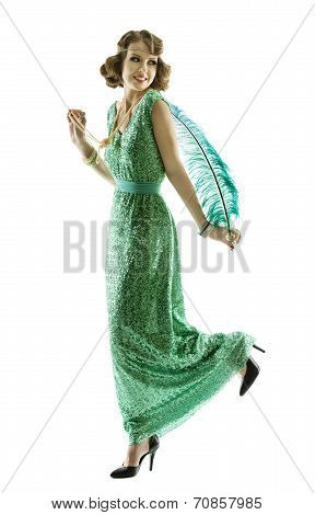Woman Feather In Fashion Retro Sequin Dress Walking Or Dancing, Luxury Lady Elegant Vintage Style Go